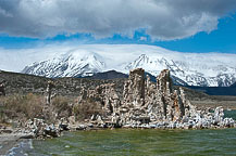 I decided to go back to the south shore of Mono lake to retake some images - the sun was strong enough to blow out some of the clouds & this morning the direction was better & a little more even.  And yes, the water is actually that green! Mono Lake
